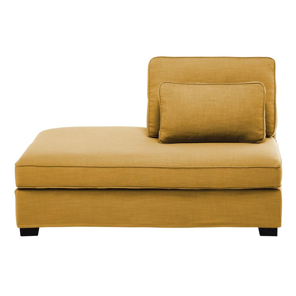 Mosterdgele Moduleerbare Chaise Longue Met Linkse Armleuning