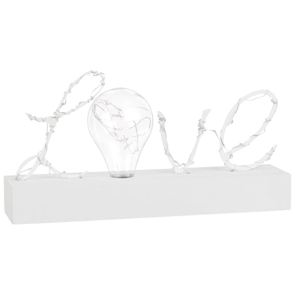 Mot lumineux en métal blanc avec ampoule