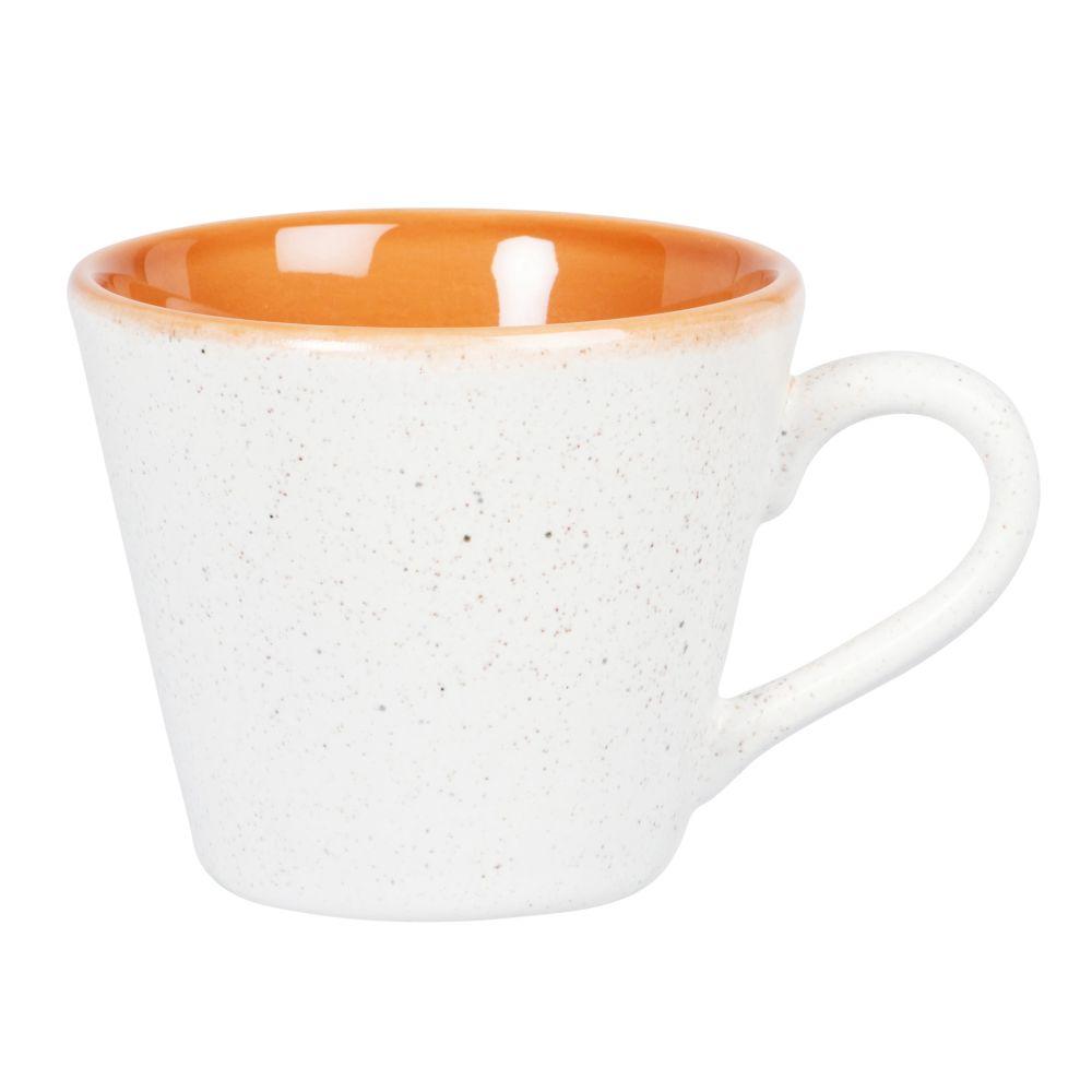 Mug en grès beige et orange
