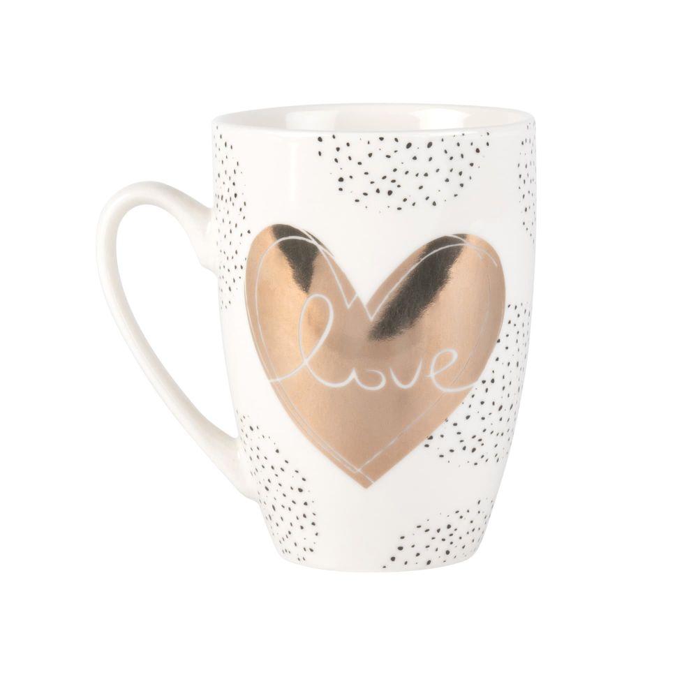 Mug en porcelaine blanche et dorée imprimé cœur