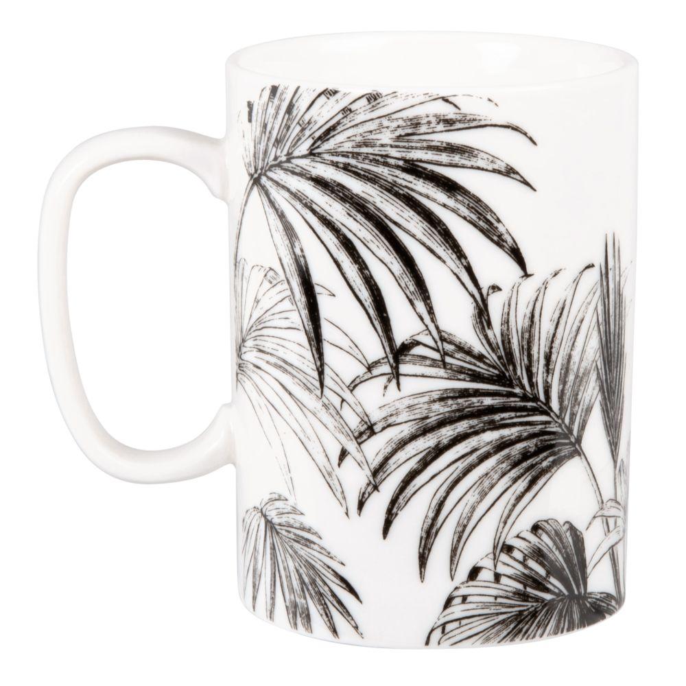 Mug en porcelaine blanche et noire imprimé palmes