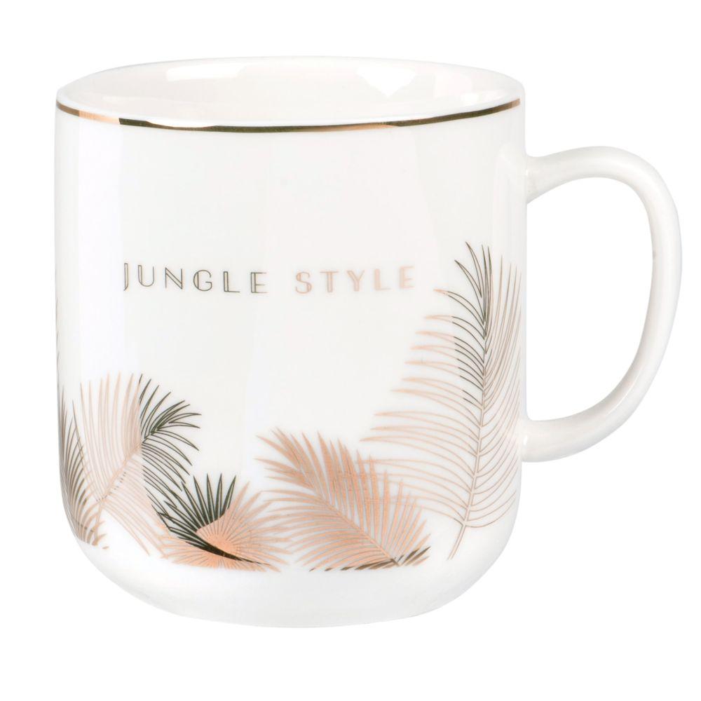 Mug en porcelaine blanche imprimé palmes dorées