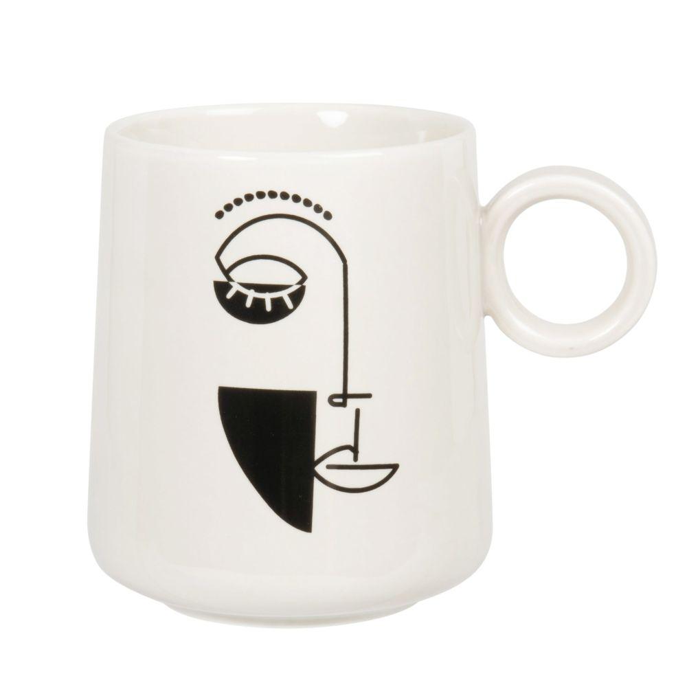 Mug en porcelaine blanche imprimé visage noir