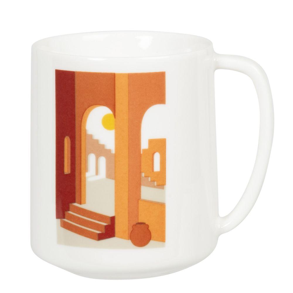 Mug en porcelaine blanche, rouge et marron imprimé
