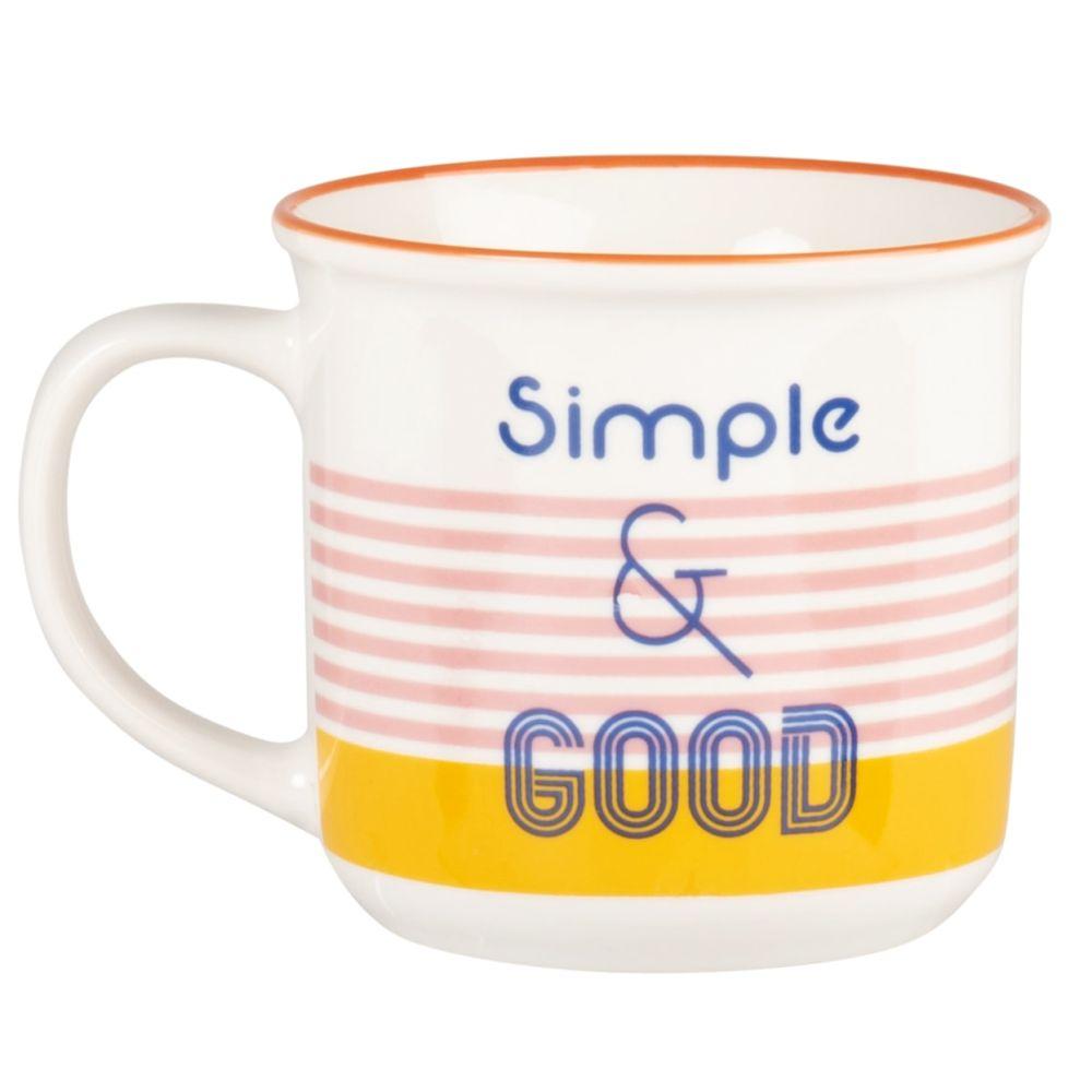 Mug en porcelaine bleue et orange imprimée
