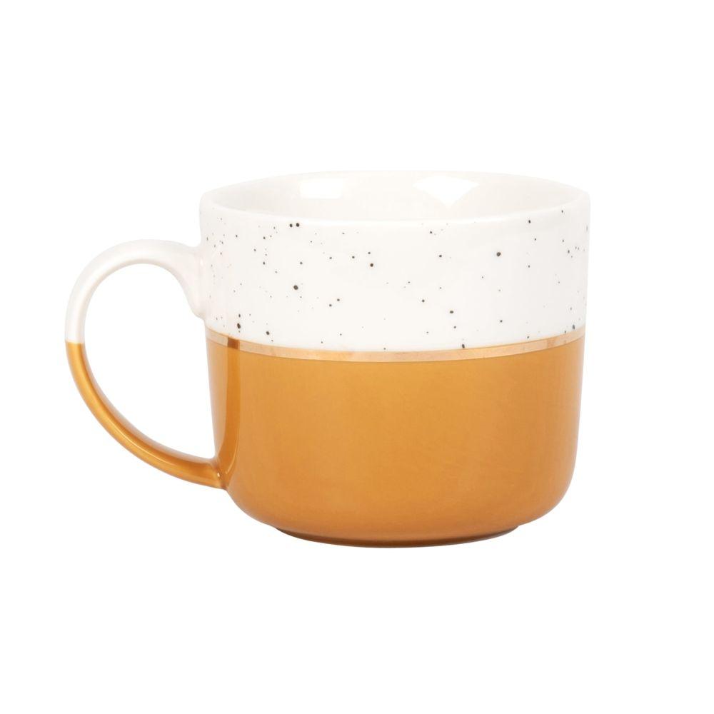 Mug en porcelaine jaune moutarde et blanche