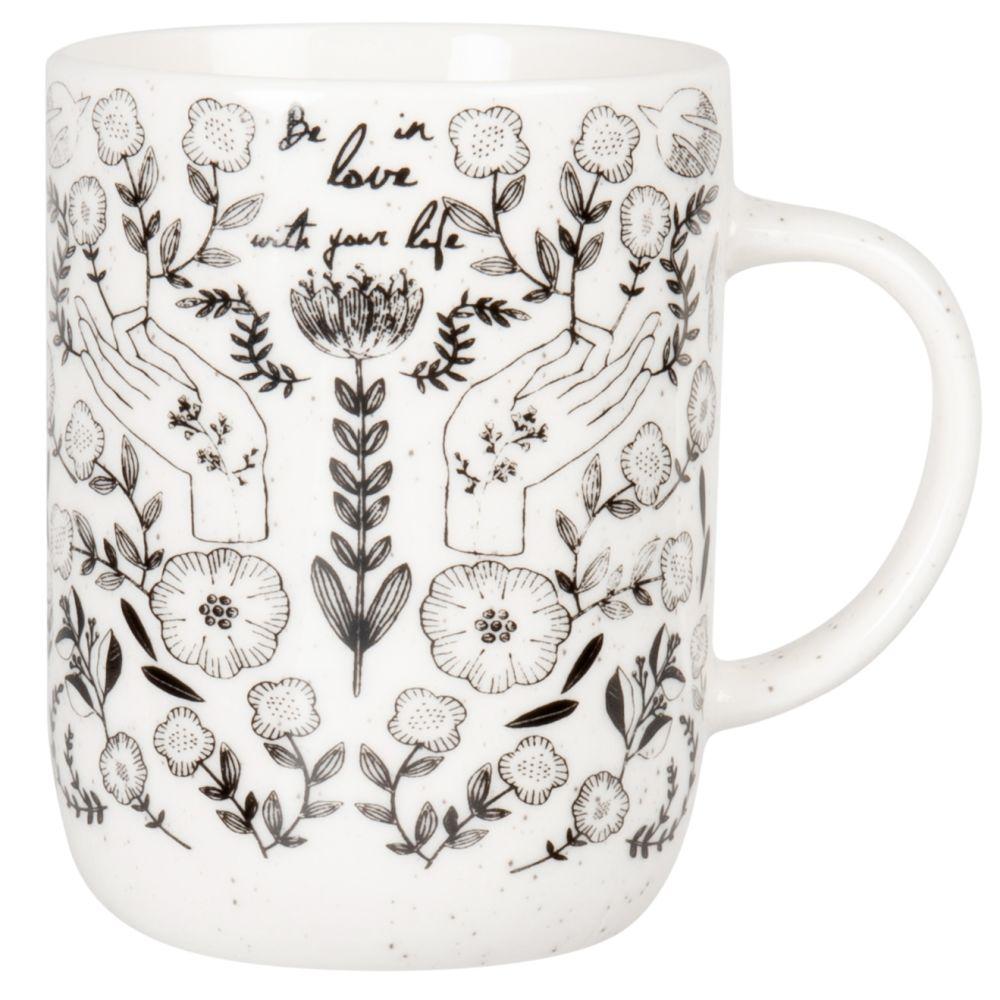 Mug en porcelaine noire et blanche imprimée