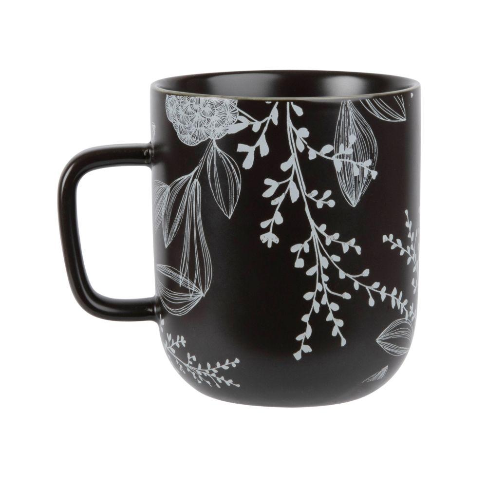 Mug en porcelaine noire motif floral blanc