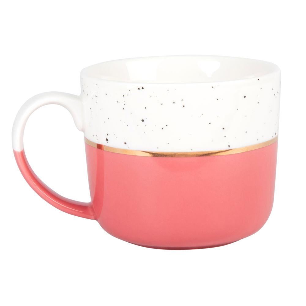 Mug en porcelaine rose, blanche et dorée