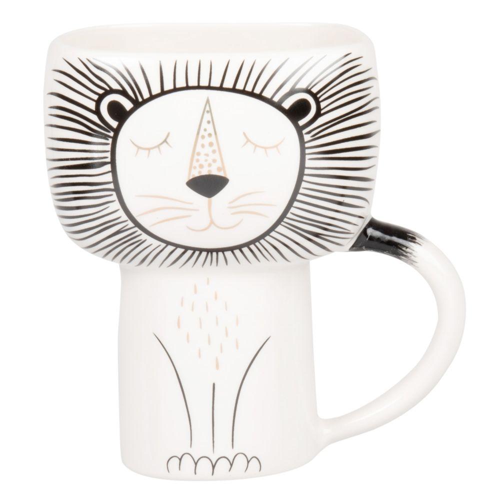 Mug lion en faïence blanche, noire et dorée