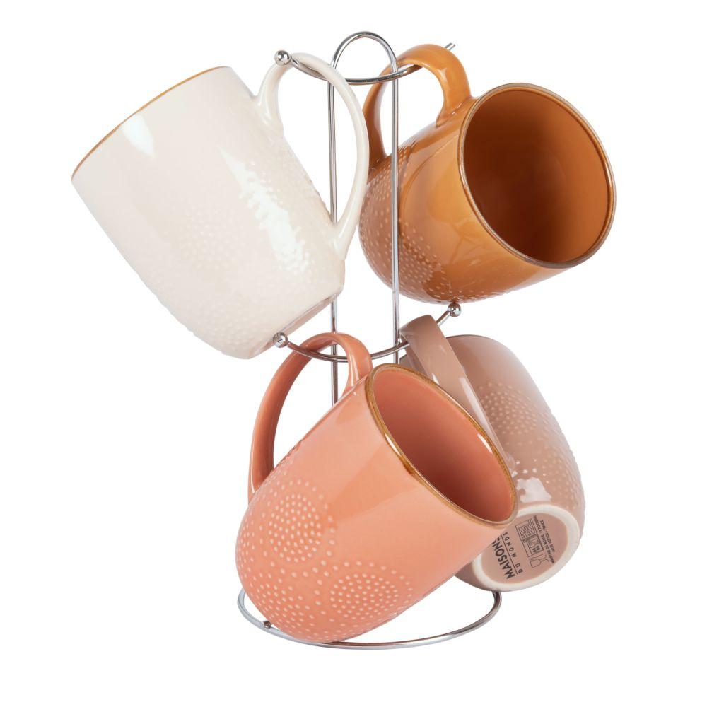 Mugs en faïence multicolore (x4) et support en métal