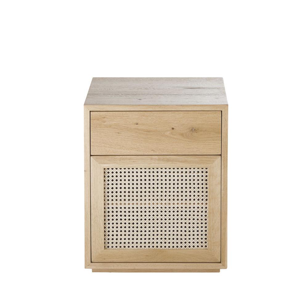Nachtkastje Van Massief Eikenhout En Gevlochten Rotan Voor Professioneel Gebruik