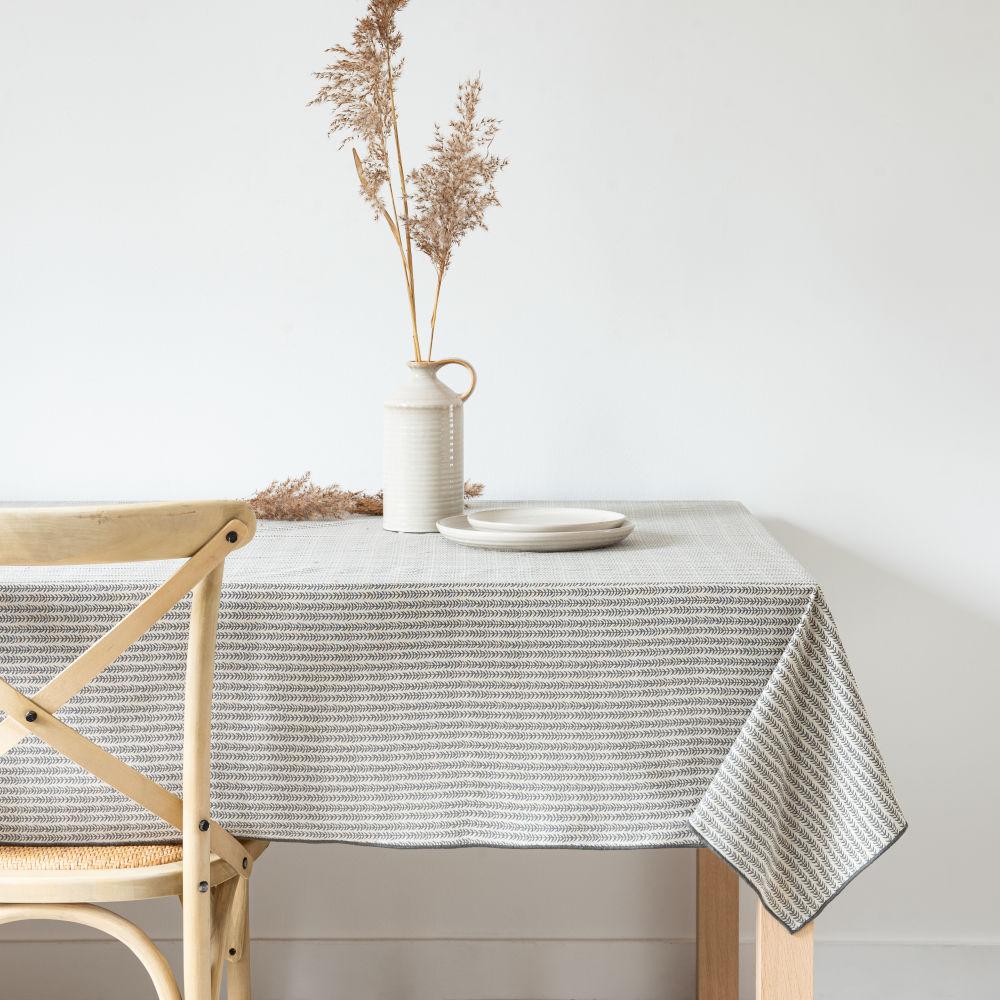 Nappe en coton bio beige chiné et gris anthracite 130x210