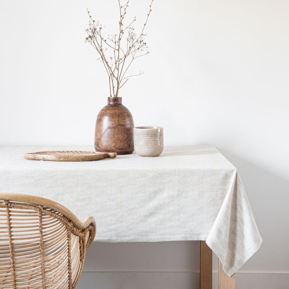 Nappe en coton bio beige et écru 140x250