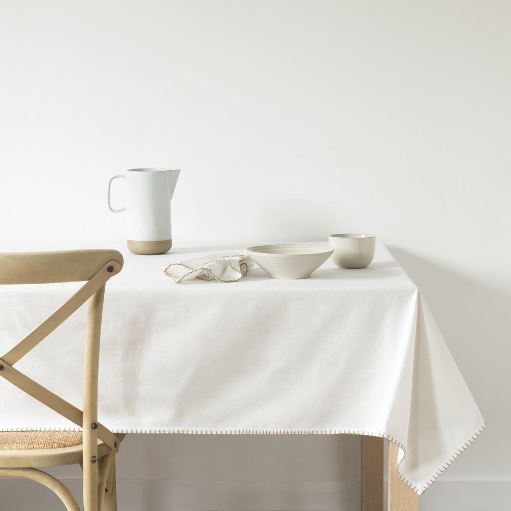 Nappe en coton bio blanc 140x250