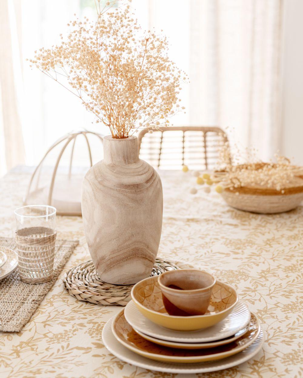 Nappe en coton bio écru imprimé floral jaune 150x250