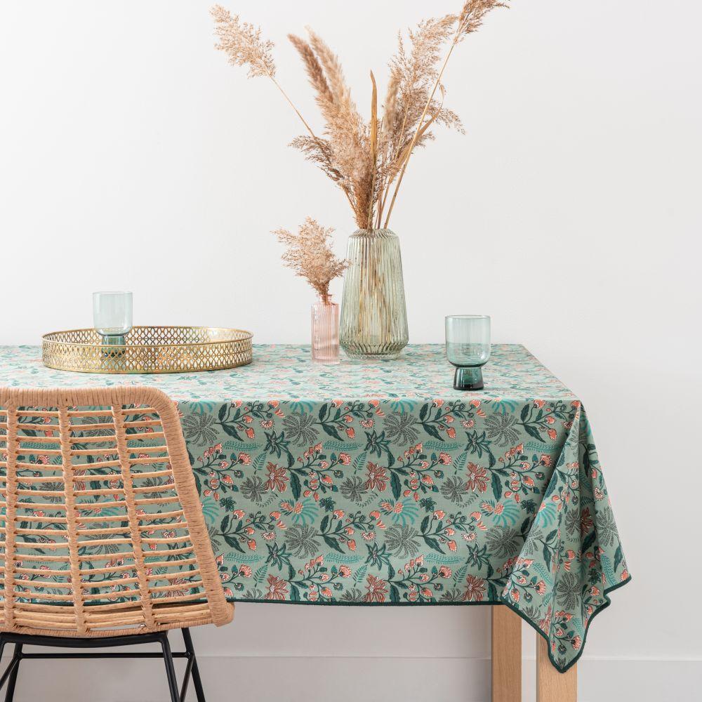 Nappe en coton bio imprimé floral 150x250