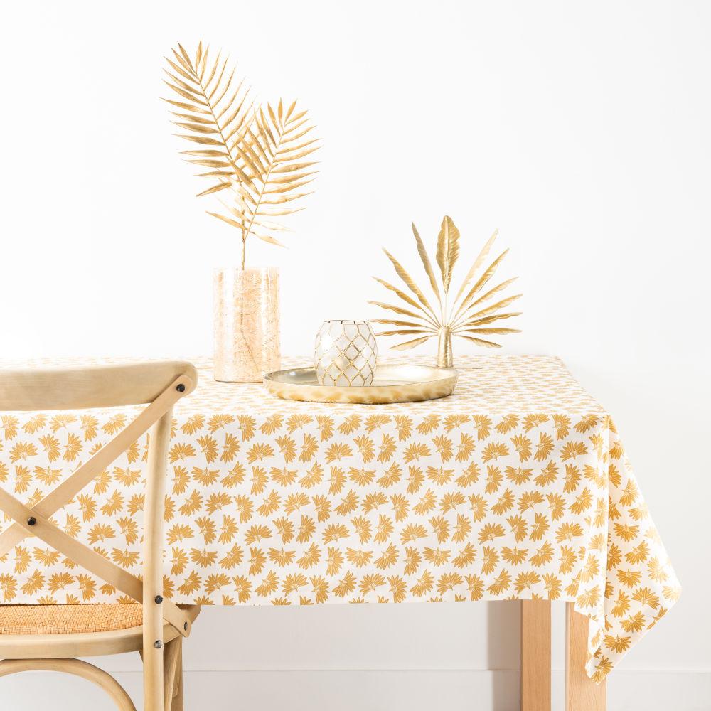 Nappe en coton bio imprimé palme blanc et jaune moutarde 130x210