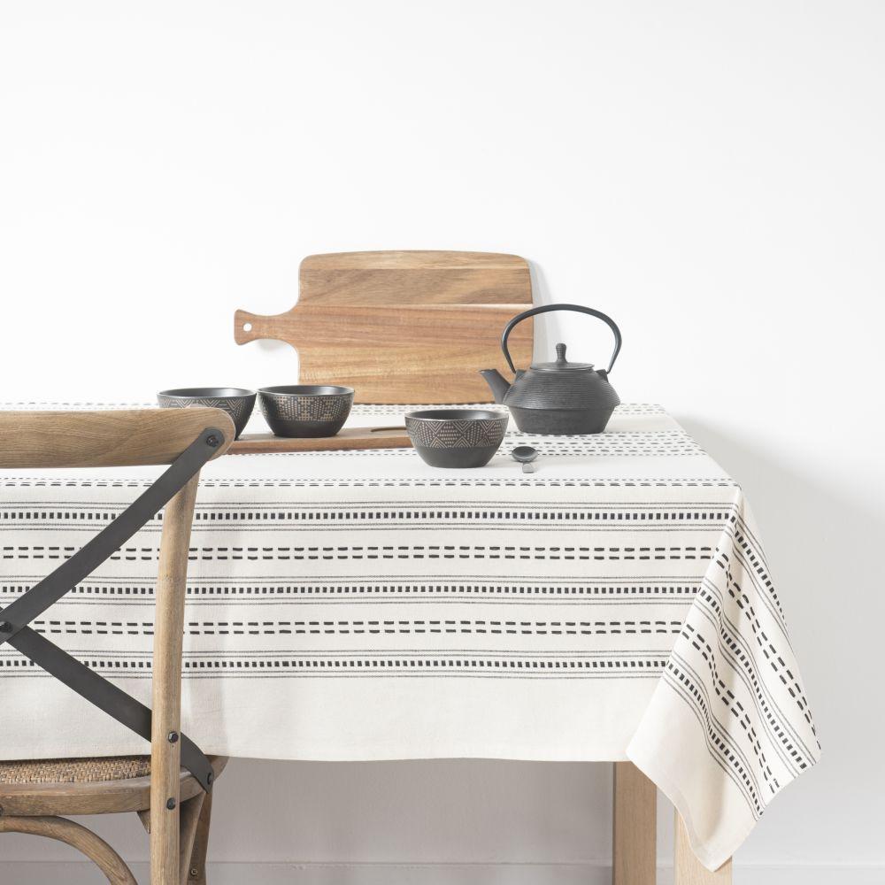 Nappe en coton bio noir et blanc à motifs 140x210