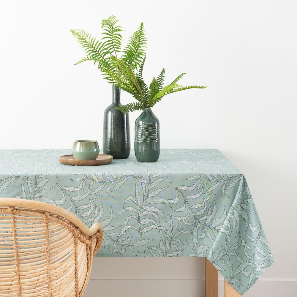 Nappe en coton bio vert et écru 140x250