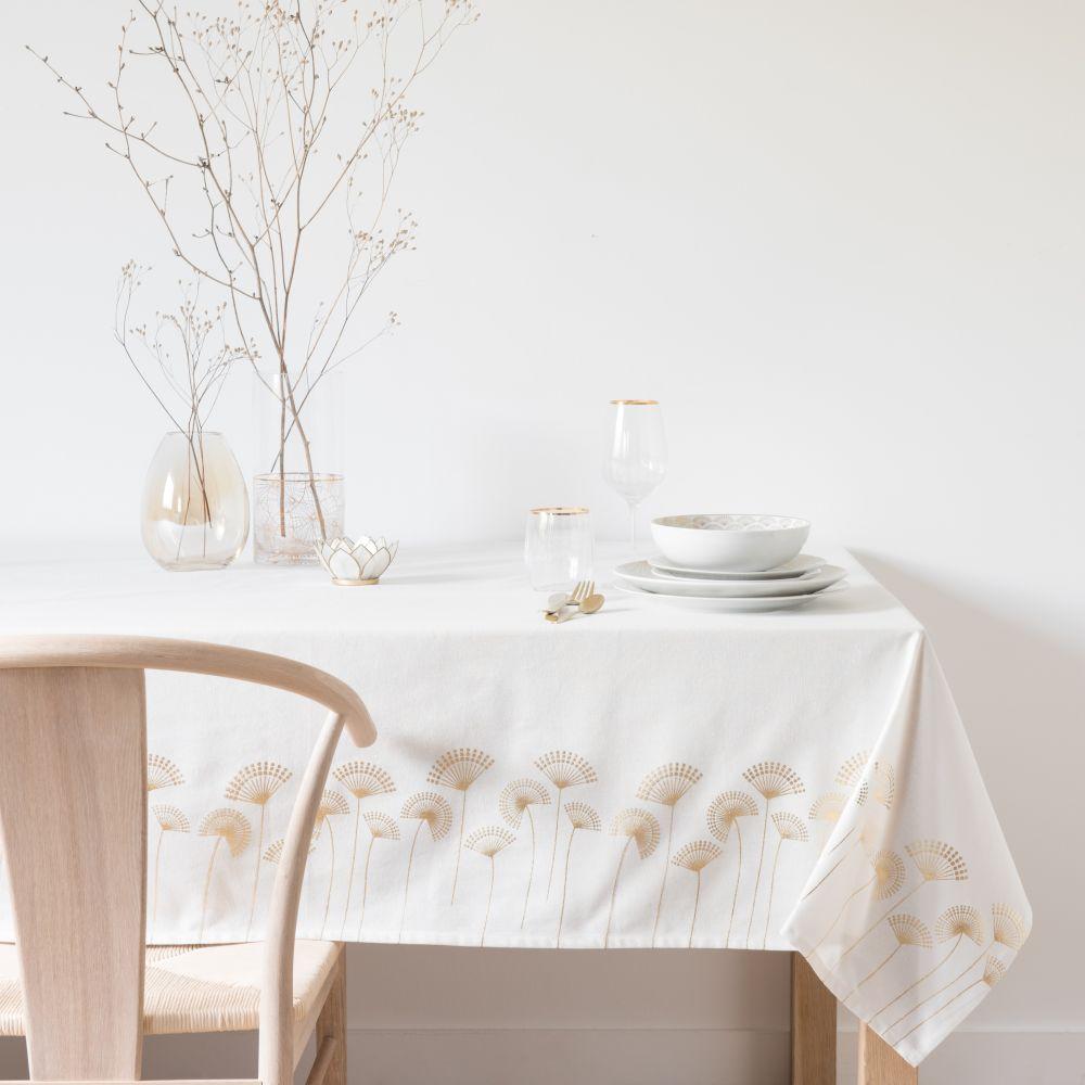 Nappe en coton blanc motifs palmiers dorés 150x250