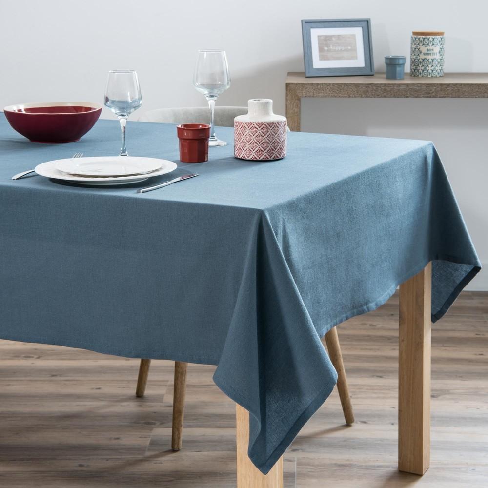 Nappe en coton lavé bleu 150x250