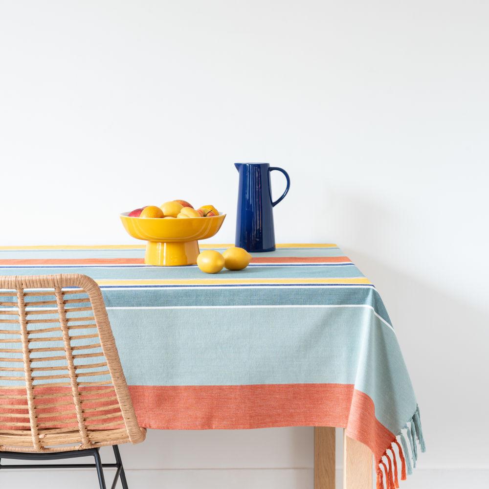 Nappe en coton tissé à motifs à rayures multicolores 130x210