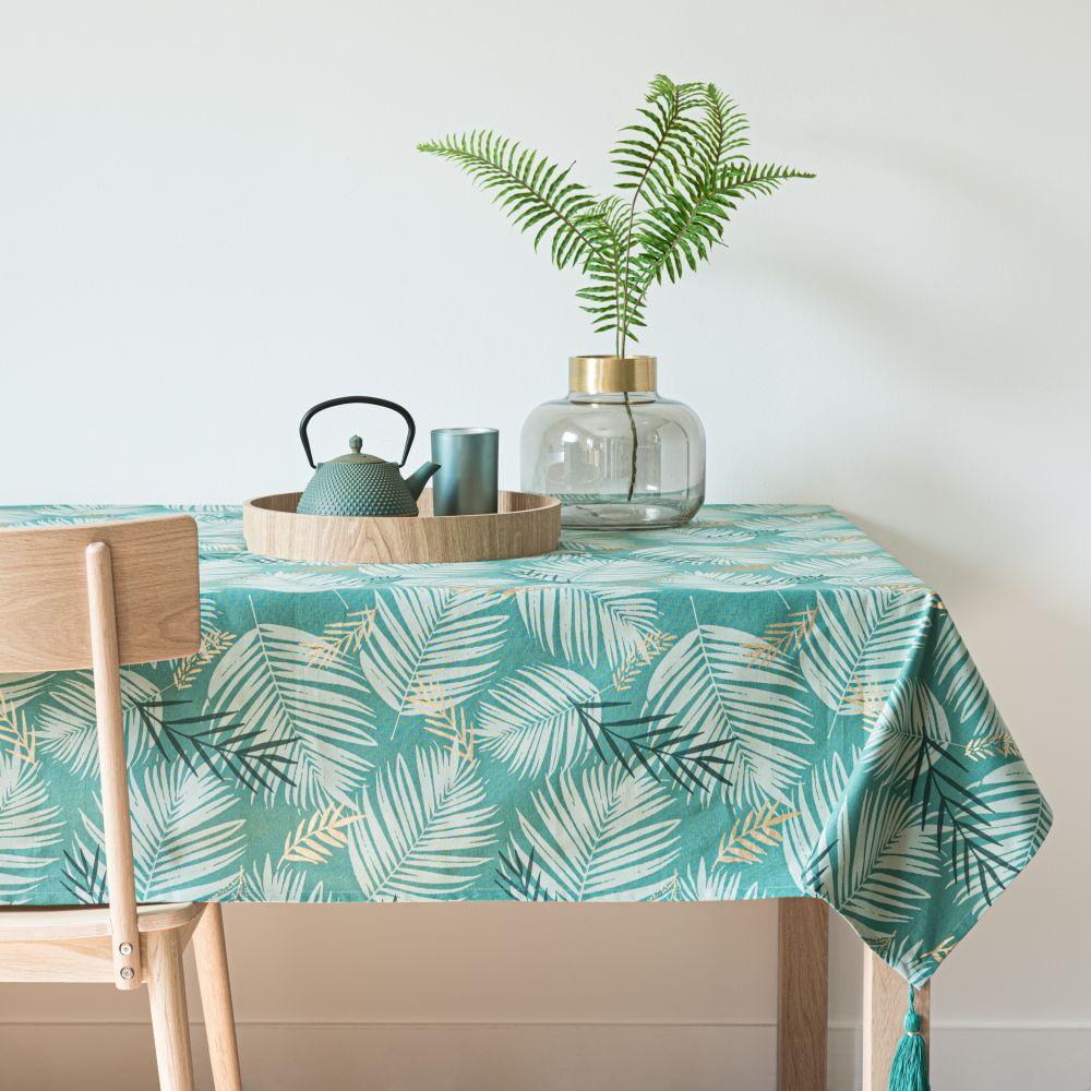 Nappe en coton vert imprimé feuilles tropicales 150x250