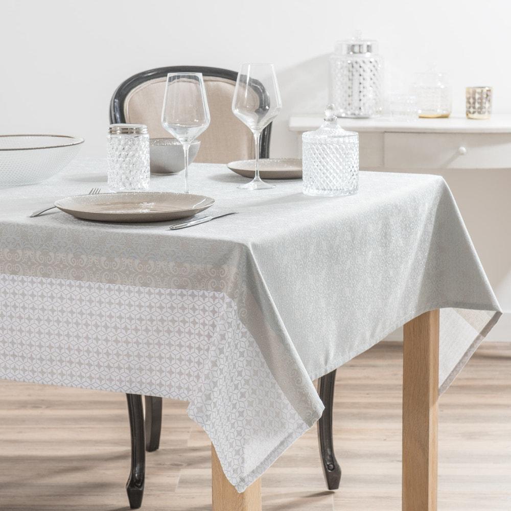 Nappe en tissu écru motifs jacquard 150x250