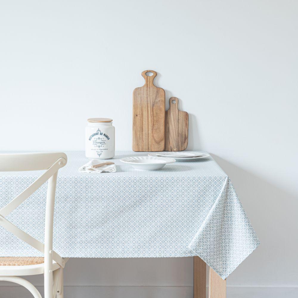 Nappe enduite en coton blanc et bleu à motifs 150x250