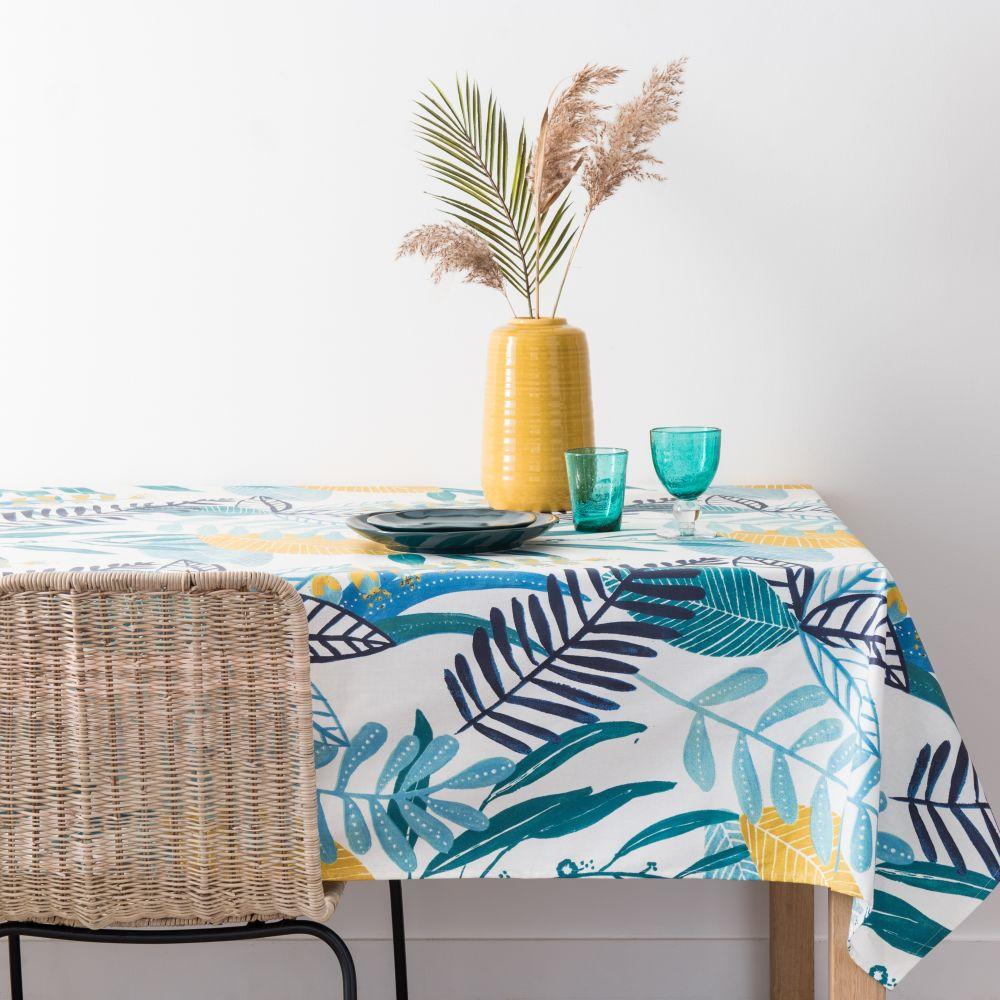 Nappe enduite en coton motif floral 150x250
