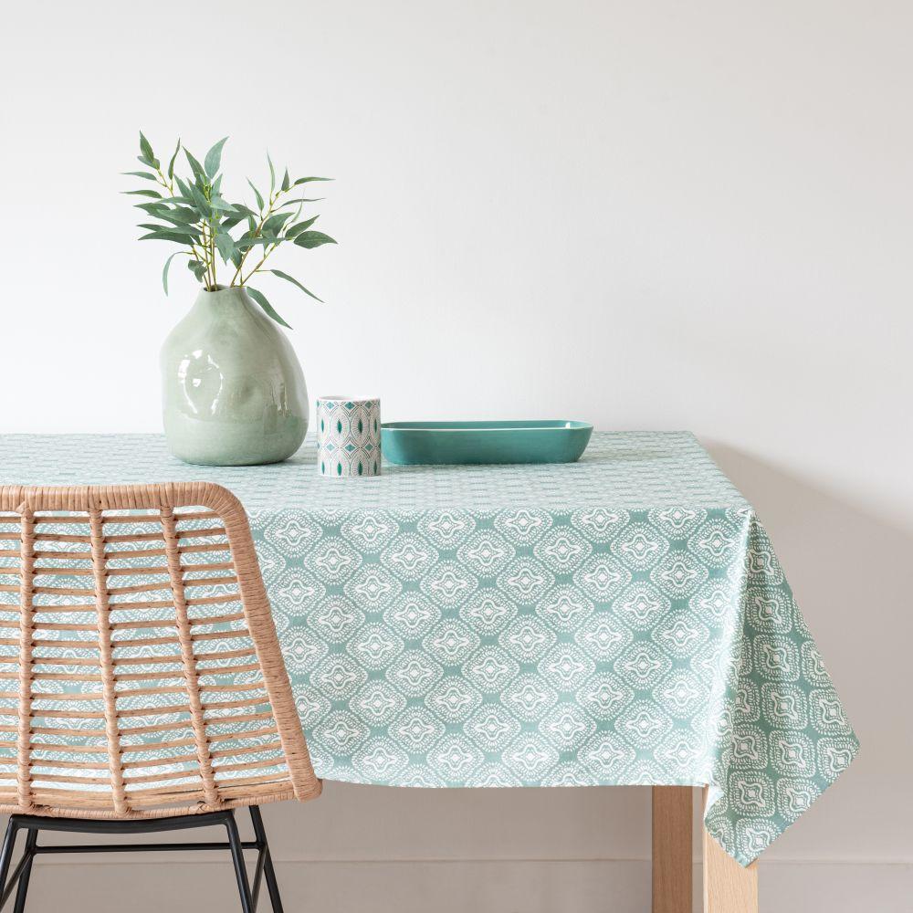 Nappe enduite en coton vert à motifs 140x250