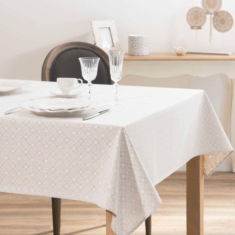 Nappe enduite imprimée blanche et beige 140x250