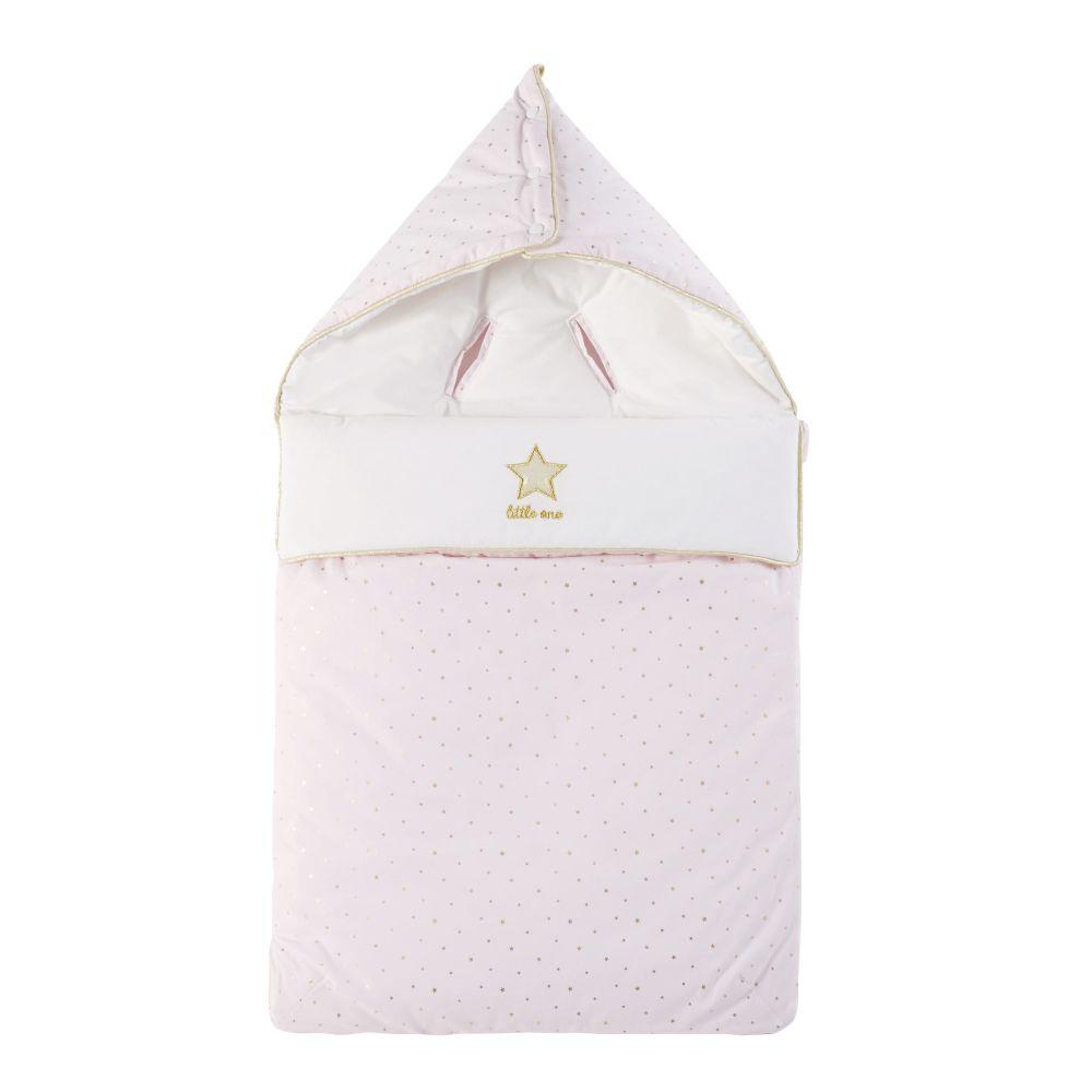 Nid d'ange bébé en coton rose, blanc et doré