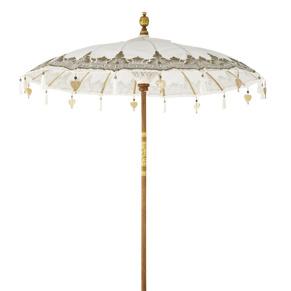 Ombrelle en coton écru motifs dorés