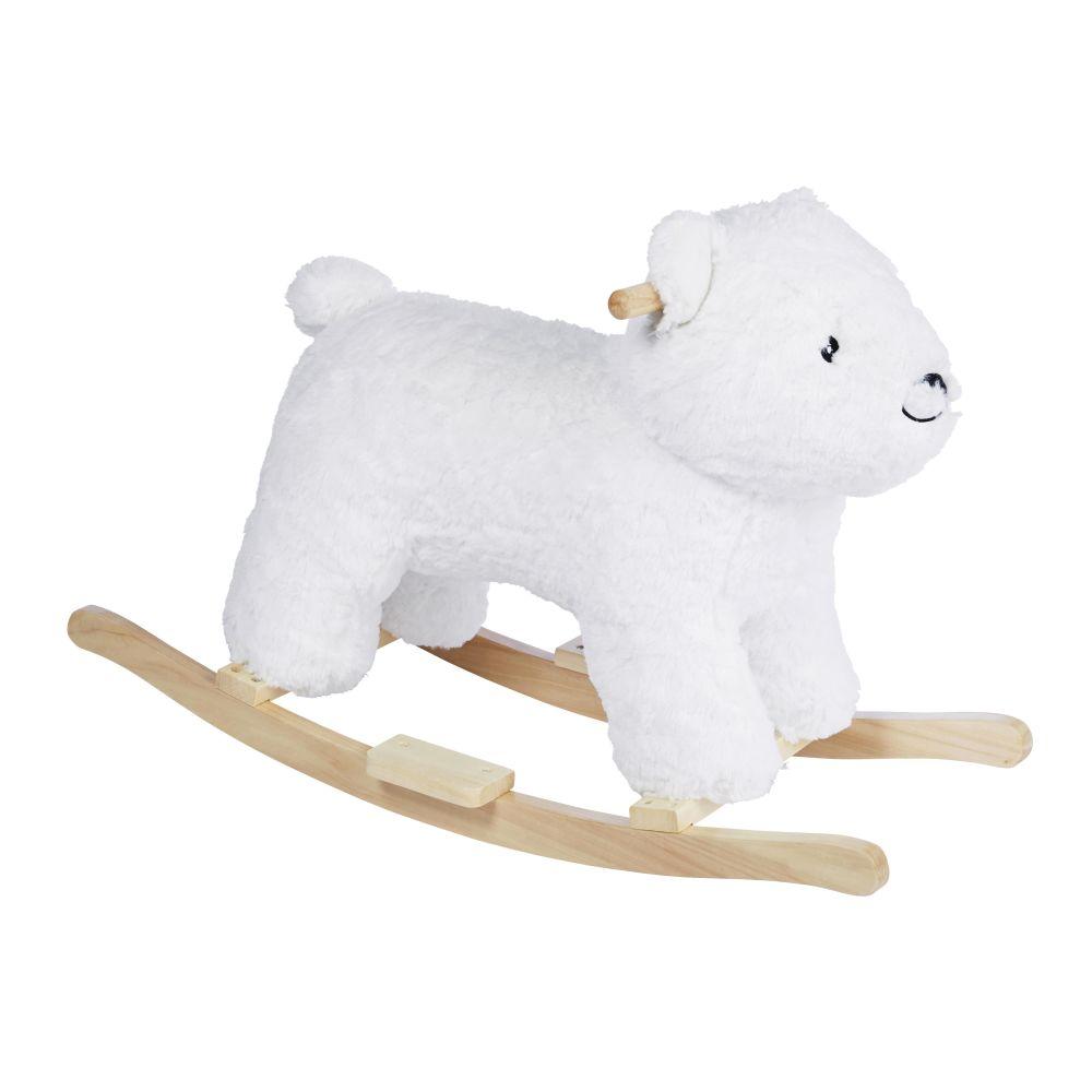 Ours à bascule blanc pieds en peuplier