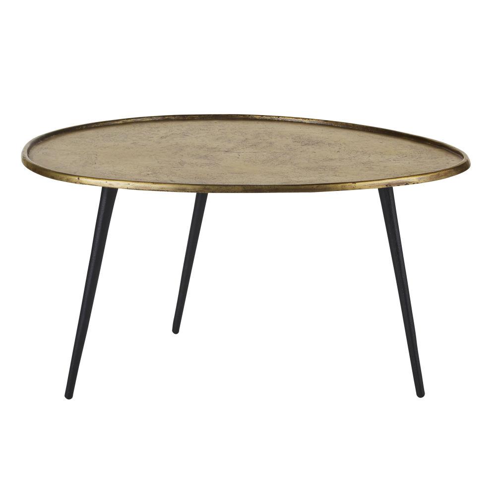 Ovale Salontafel Uit Zwart En Messingkleurig Metaal