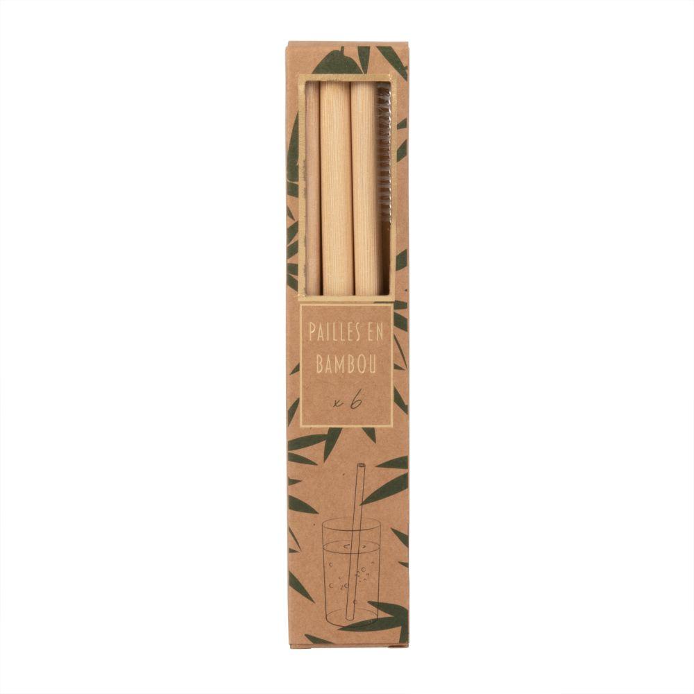 Pailles en bambou (x6)