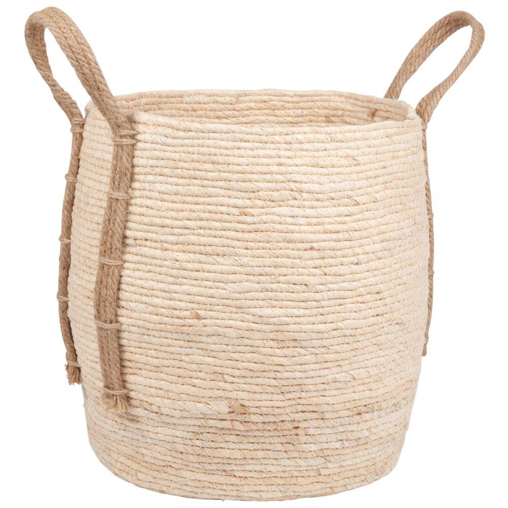 Panier à grandes anses en fibre végétale