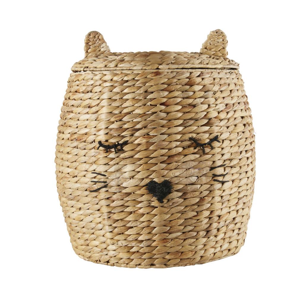 Panier chat en fibre végétale tressée et laine