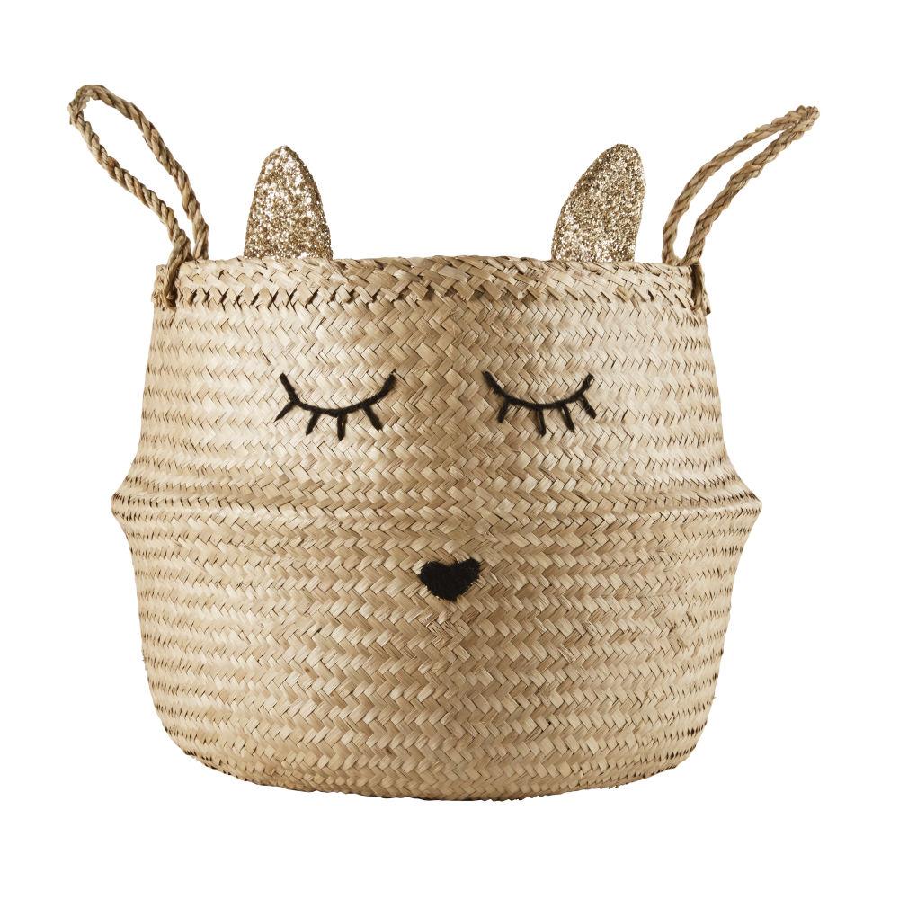 Panier chat en fibre végétale tressée et laine noire