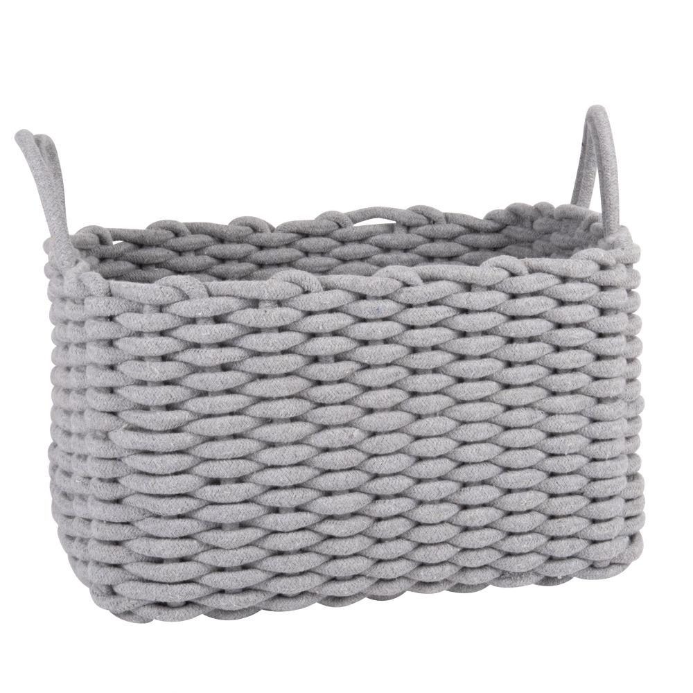 Panier rectangulaire en coton gris