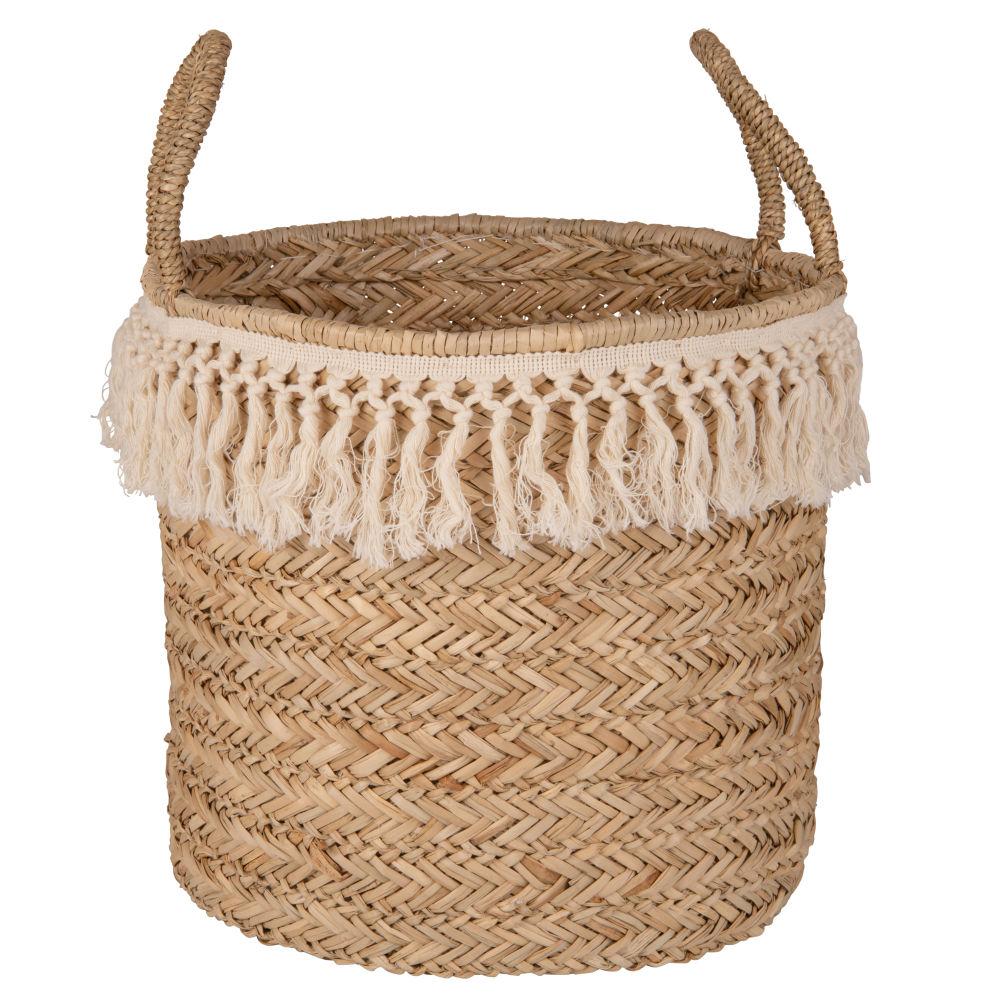 Panier tressé à franges en fibre végétale