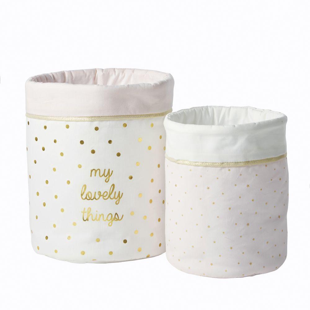 Paniers de rangement en coton rose, blanc et doré à motifs (x2)