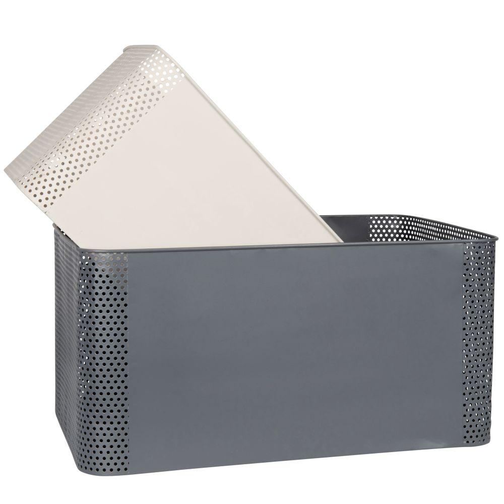 Paniers en métal gris anthracite et blanc (x2)
