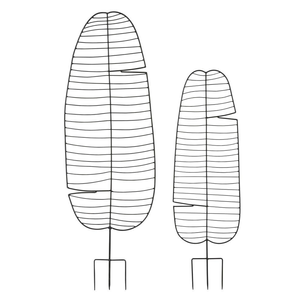 Panneaux d'extérieur feuilles de bananier en métal noir à planter (x2)