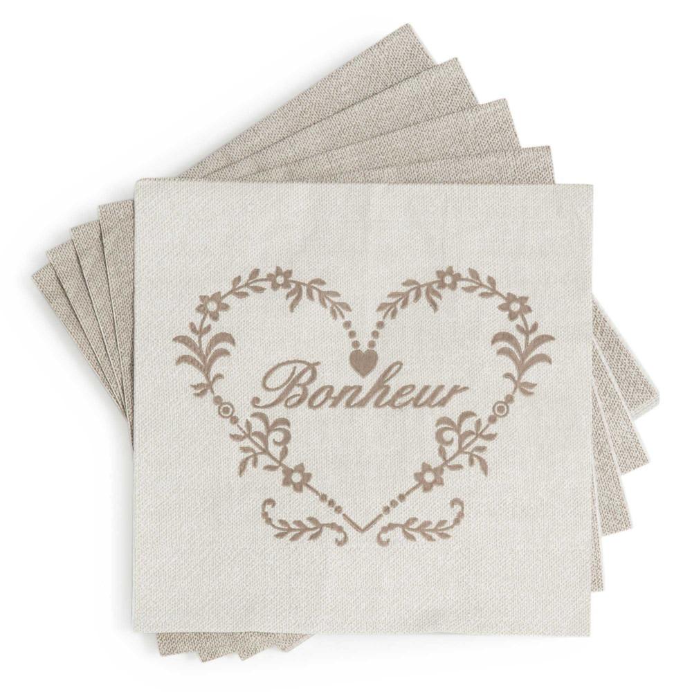 Paquet de 20 serviettes en papier beiges 17 x 17 cm