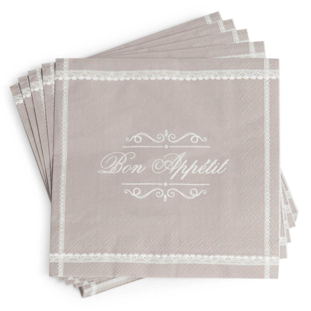 Paquet de 20 serviettes en papier grises 33 x 33 cm