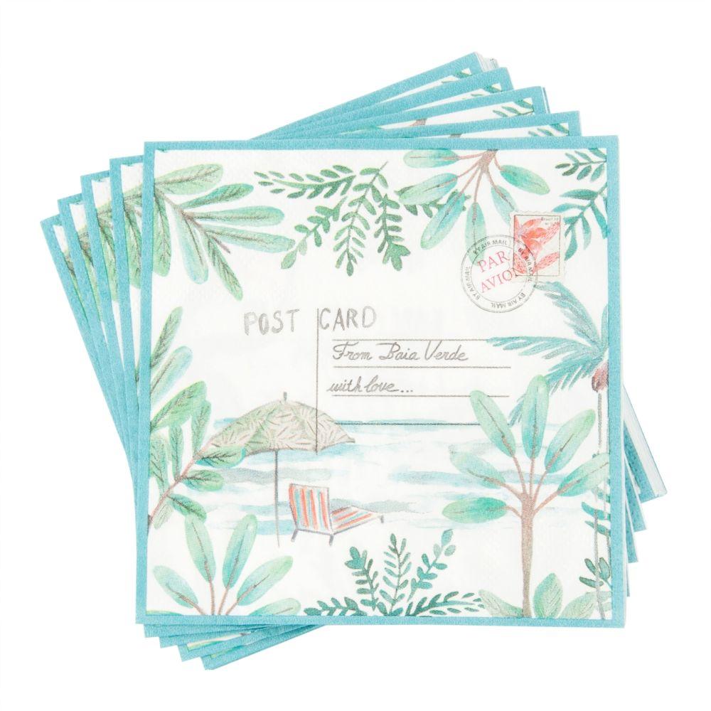 Paquet de 20 serviettes en papier imprimé carte postale