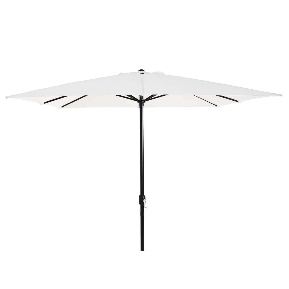 Parasol carré en aluminium noir et toile blanc cassé